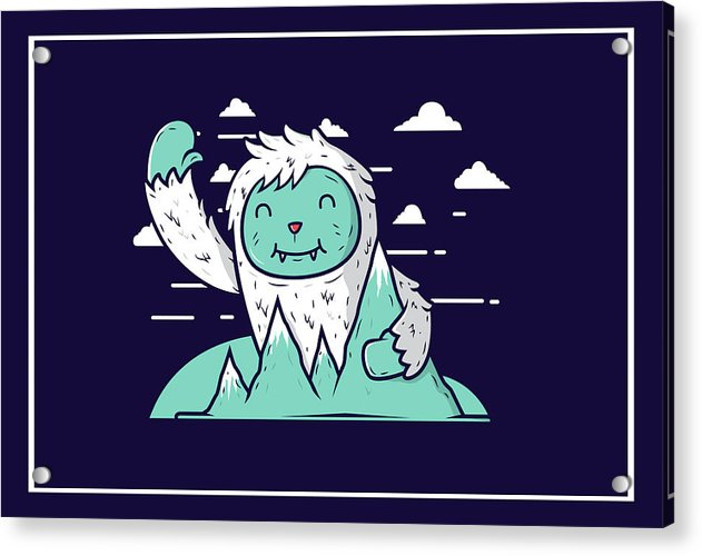 Happy Mountain Yeti For Kids - Acrylic Print from Wallasso - The Wall Art Superstore