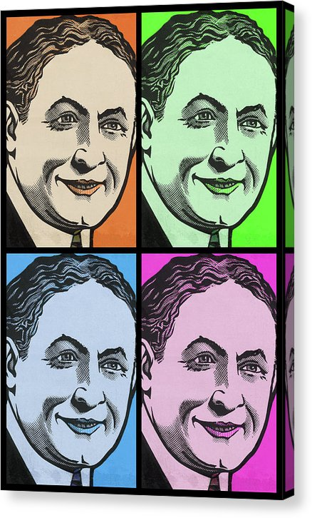 Harry Houdini Pop Art Collage, Black Border - Canvas Print from Wallasso - The Wall Art Superstore