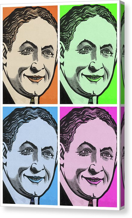 Harry Houdini Pop Art Collage, White Border - Canvas Print from Wallasso - The Wall Art Superstore