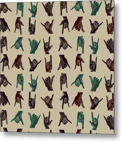 Hawaiian Shaka Hand Gesture Pattern - Metal Print from Wallasso - The Wall Art Superstore