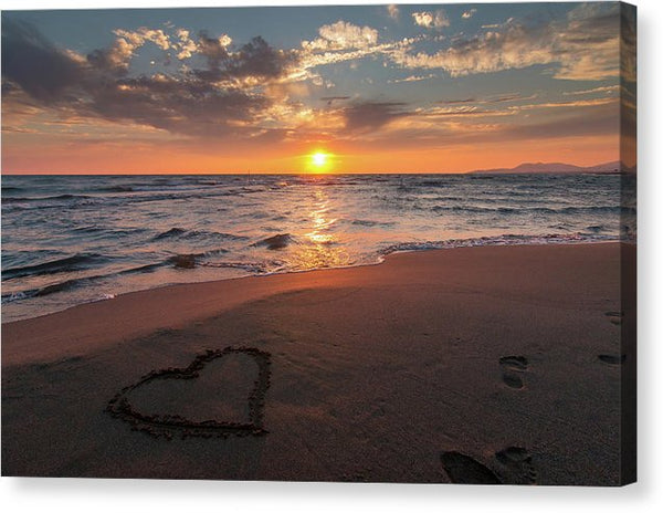 Heart In Sand On Sunset Beach - Canvas Print from Wallasso - The Wall Art Superstore