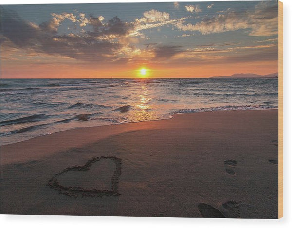 Heart In Sand On Sunset Beach - Wood Print from Wallasso - The Wall Art Superstore