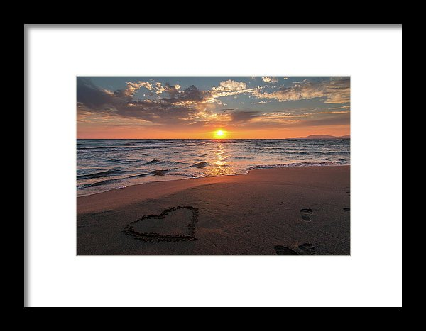 Heart In Sand On Sunset Beach - Framed Print from Wallasso - The Wall Art Superstore