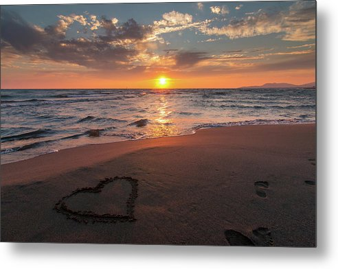 Heart In Sand On Sunset Beach - Metal Print from Wallasso - The Wall Art Superstore