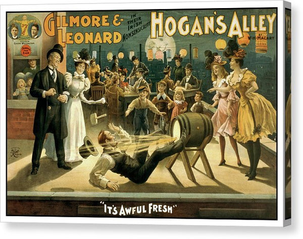 Vintage Hogan's Alley Stage Play Poster, 1898 - Canvas Print from Wallasso - The Wall Art Superstore