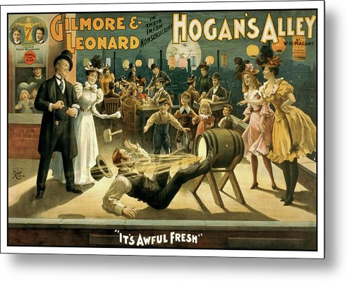Vintage Hogan's Alley Stage Play Poster, 1898 - Metal Print from Wallasso - The Wall Art Superstore