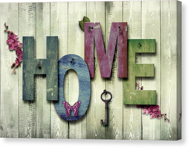 Home Quote On Wood Texture - Canvas Print from Wallasso - The Wall Art Superstore