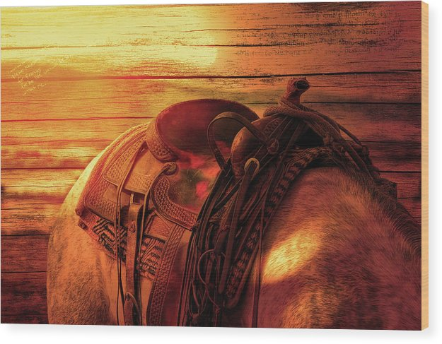 Horse Saddle With Wood Texture - Wood Print from Wallasso - The Wall Art Superstore