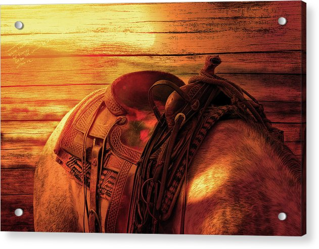 Horse Saddle With Wood Texture - Acrylic Print from Wallasso - The Wall Art Superstore