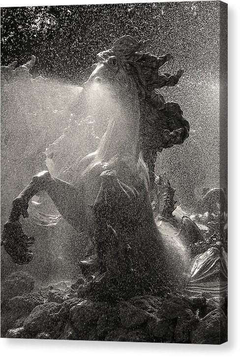 Horse Statue Water Fountain - Canvas Print from Wallasso - The Wall Art Superstore