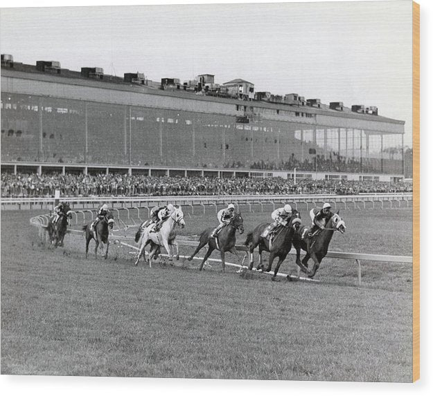 Horses Racing Around Track - Wood Print from Wallasso - The Wall Art Superstore