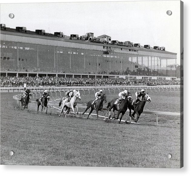 Horses Racing Around Track - Acrylic Print from Wallasso - The Wall Art Superstore