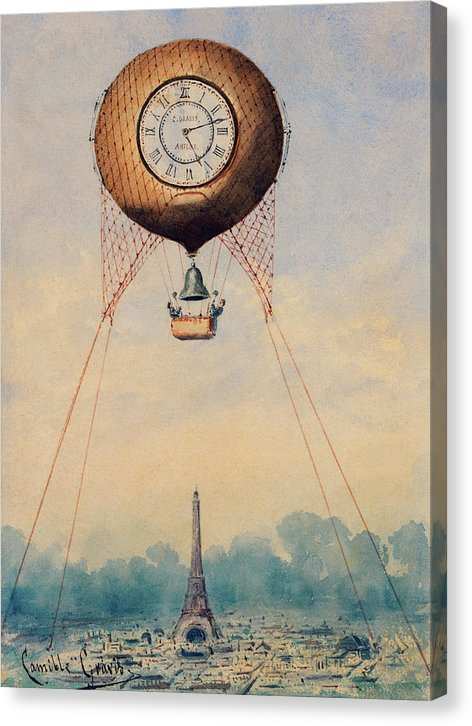 Hot Air Balloon With Clock And Bell Hovering Over Paris - Canvas Print from Wallasso - The Wall Art Superstore