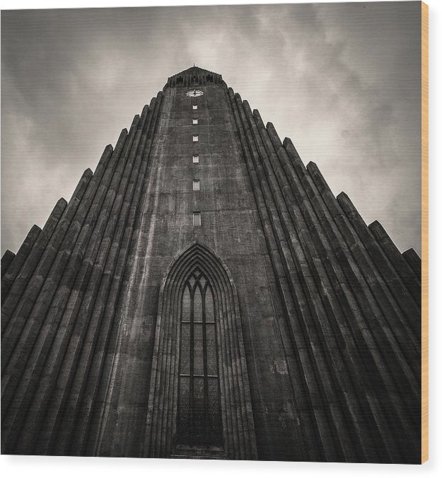 Icelandic Church, Sepia - Wood Print from Wallasso - The Wall Art Superstore
