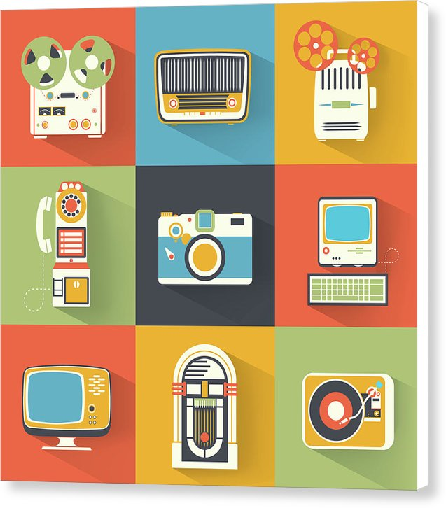Icons of Retro Electronics - Canvas Print from Wallasso - The Wall Art Superstore