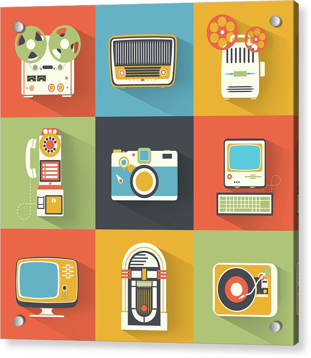 Icons of Retro Electronics - Acrylic Print from Wallasso - The Wall Art Superstore