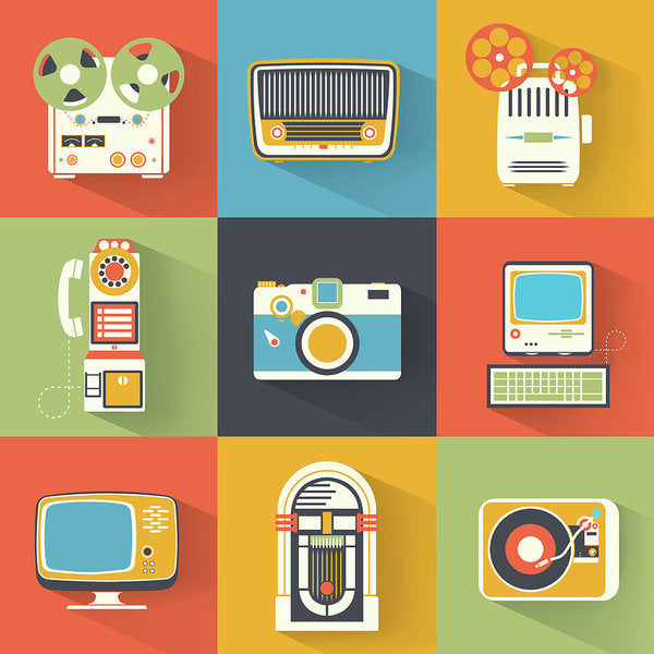 Icons of Retro Electronics - Art Print from Wallasso - The Wall Art Superstore
