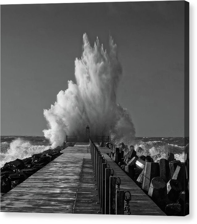 Incredible Waves Crashing Into Jetty - Canvas Print from Wallasso - The Wall Art Superstore