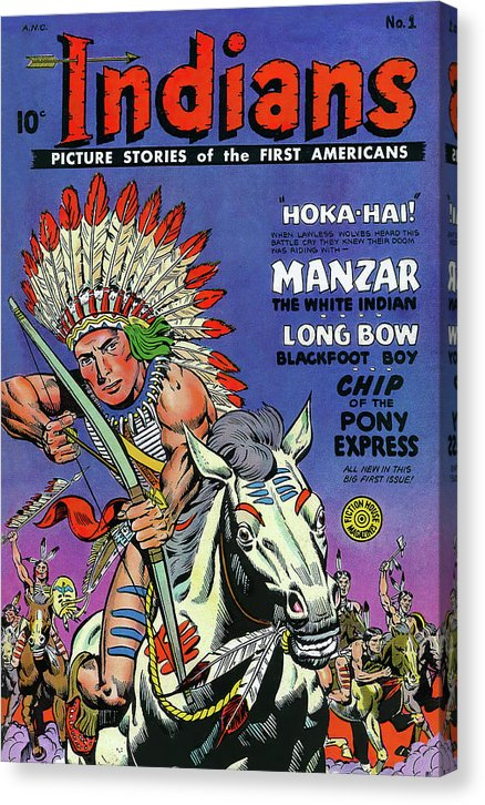 Indian Riding White Horse With Bow and Arrow, Vintage Comic Book - Canvas Print from Wallasso - The Wall Art Superstore