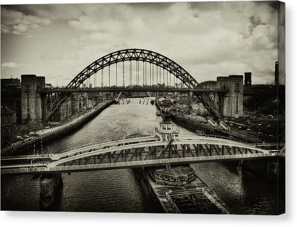 Industrial Bridges and Barge - Canvas Print from Wallasso - The Wall Art Superstore