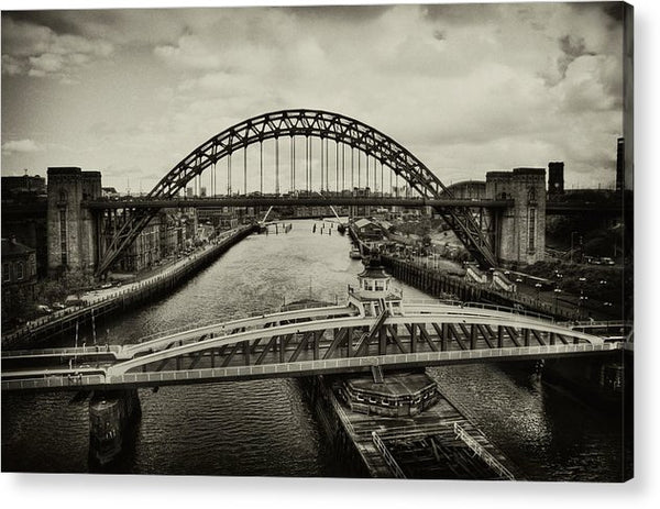 Industrial Bridges and Barge - Acrylic Print from Wallasso - The Wall Art Superstore