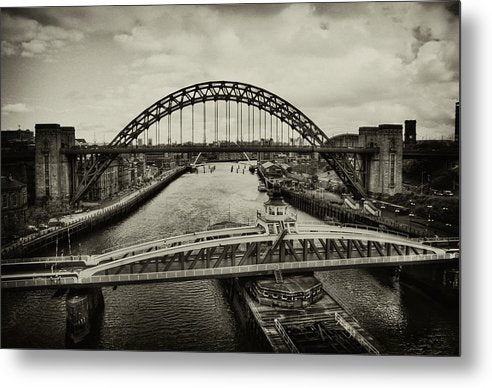 Industrial Bridges and Barge - Metal Print from Wallasso - The Wall Art Superstore