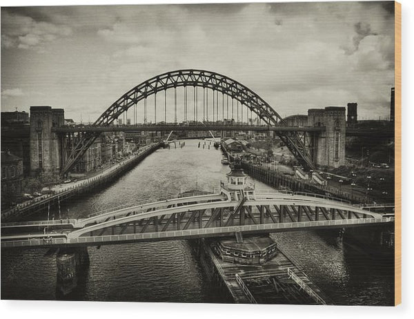 Industrial Bridges and Barge - Wood Print from Wallasso - The Wall Art Superstore