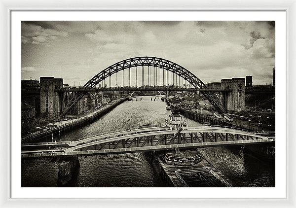 Industrial Bridges and Barge - Framed Print from Wallasso - The Wall Art Superstore