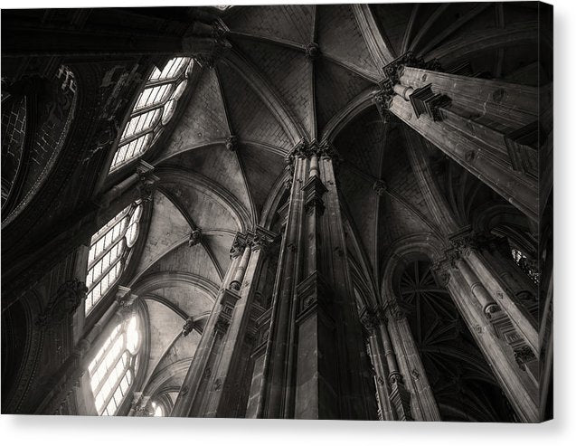 Inside Roof of Historic Abbey Church, Sepia - Canvas Print from Wallasso - The Wall Art Superstore
