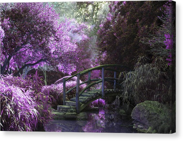 Japanese Garden Bridge With Purple Trees - Canvas Print from Wallasso - The Wall Art Superstore