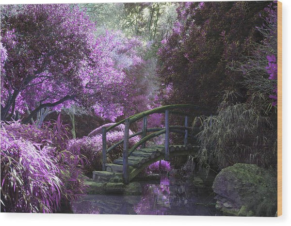 Japanese Garden Bridge With Purple Trees - Wood Print from Wallasso - The Wall Art Superstore