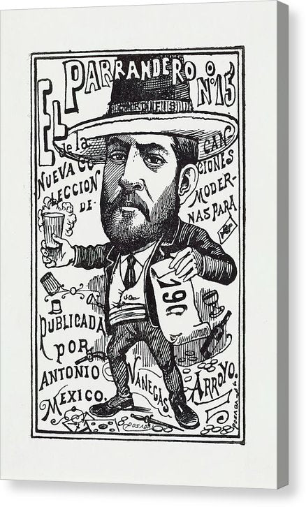 A Vendor of A New Collection of Songs by Jose Guadalupe Posada, Ca. 1900 - Canvas Print from Wallasso - The Wall Art Superstore