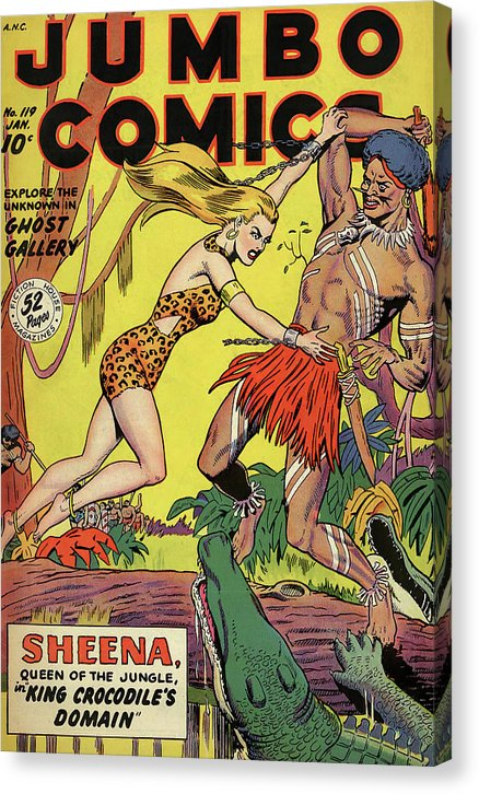 Jungle Woman Fighting King Crocodile, Vintage Comic Book - Canvas Print from Wallasso - The Wall Art Superstore