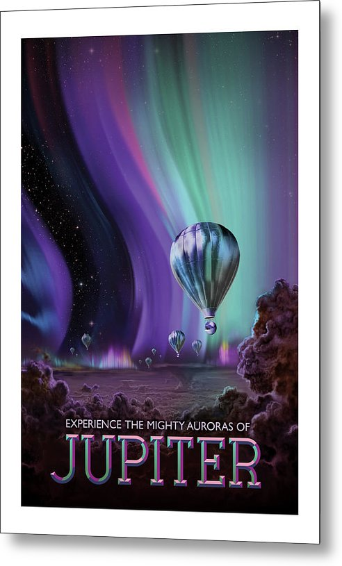 Jupiter Visions of The Future Vintage Travel Poster - Metal Print from Wallasso - The Wall Art Superstore