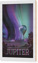 Jupiter Visions of The Future Vintage Travel Poster - Wood Print from Wallasso - The Wall Art Superstore