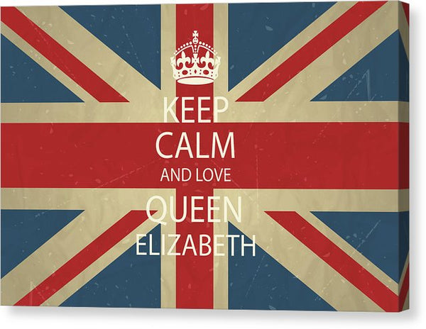 Keep Calm and Love Queen Elizabeth Union Jack British Flag - Canvas Print from Wallasso - The Wall Art Superstore