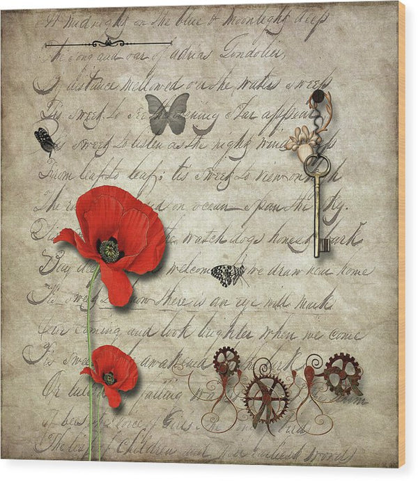 Key and Red Poppy Flower Decoupage Design - Wood Print from Wallasso - The Wall Art Superstore