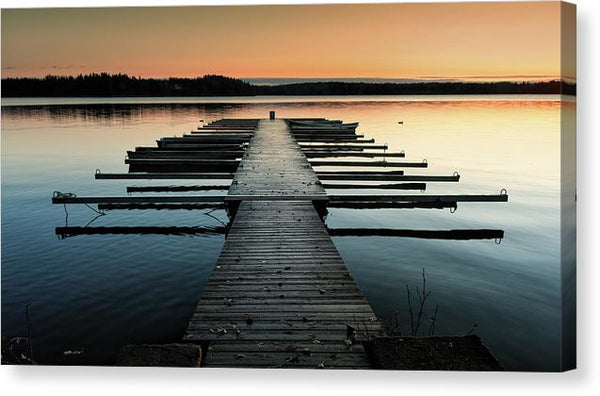 Lake Docks At Sunrise - Canvas Print from Wallasso - The Wall Art Superstore