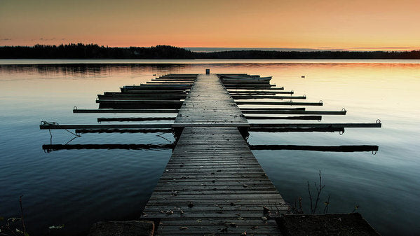 Lake Docks At Sunrise - Art Print from Wallasso - The Wall Art Superstore