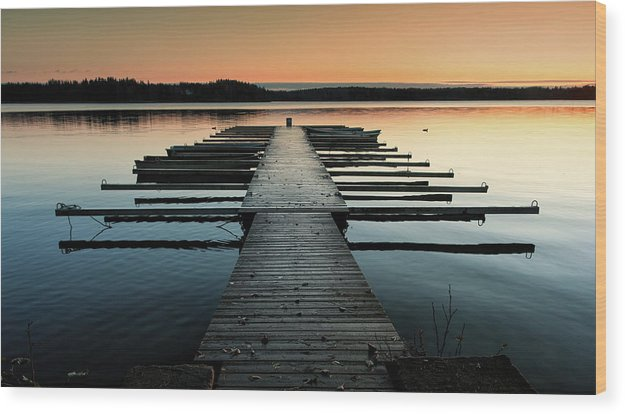 Lake Docks At Sunrise - Wood Print from Wallasso - The Wall Art Superstore