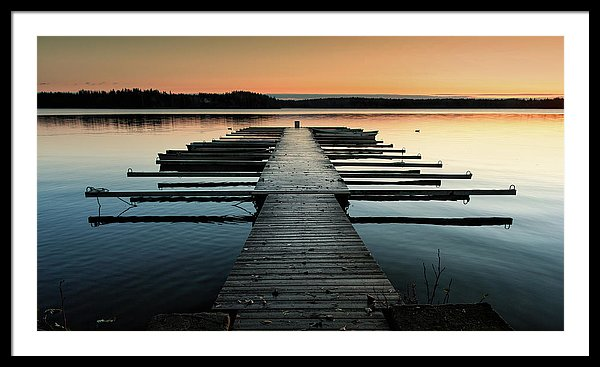 Lake Docks At Sunrise - Framed Print from Wallasso - The Wall Art Superstore