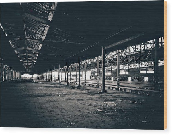 Large Abandoned Warehouse - Wood Print from Wallasso - The Wall Art Superstore
