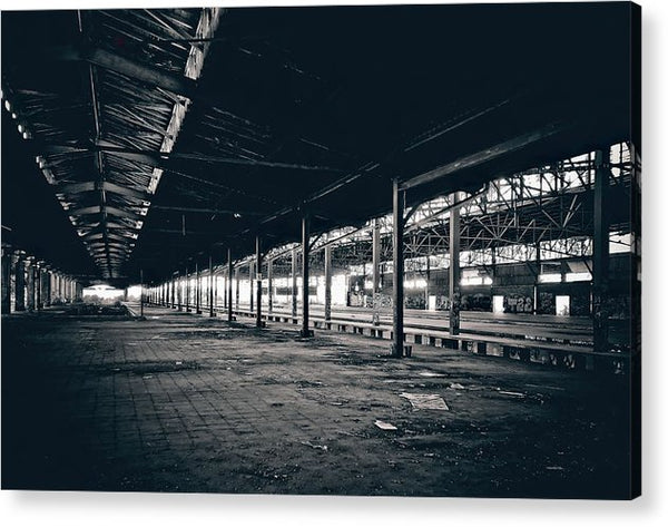 Large Abandoned Warehouse - Acrylic Print from Wallasso - The Wall Art Superstore
