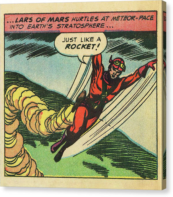 Lars of Mars Flying, Vintage Comic Book - Canvas Print from Wallasso - The Wall Art Superstore