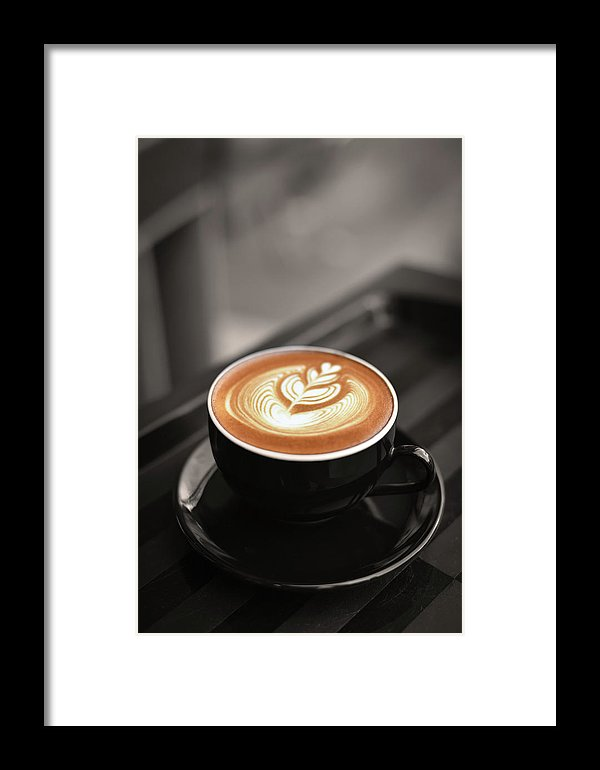 Latte Flower Design In Coffee Cup - Framed Print from Wallasso - The Wall Art Superstore