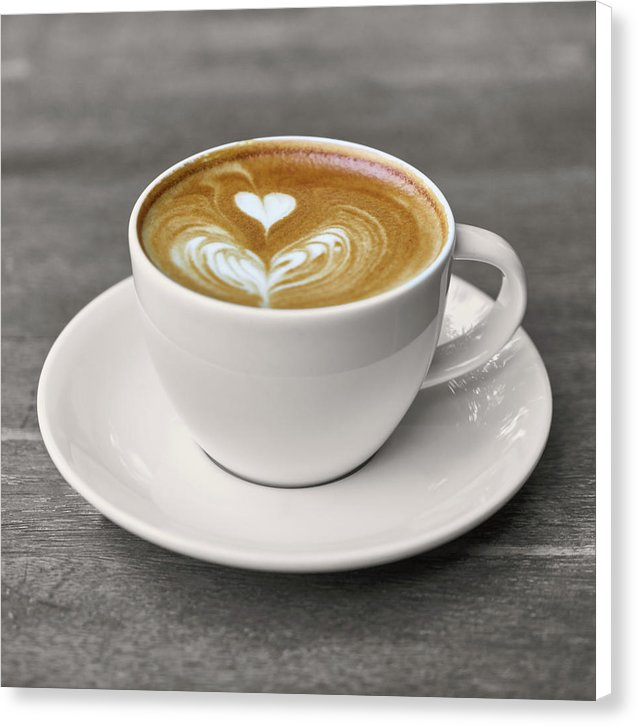 Latte Heart Design In Coffee Cup - Canvas Print from Wallasso - The Wall Art Superstore