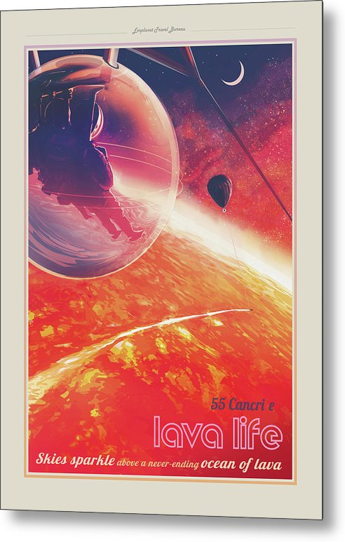 Lava Life Visions of The Future Vintage Travel Poster - Metal Print from Wallasso - The Wall Art Superstore