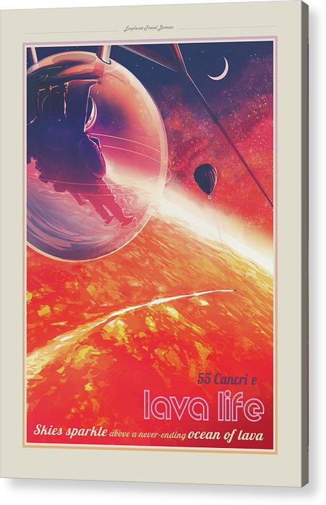 Lava Life Visions of The Future Vintage Travel Poster - Acrylic Print from Wallasso - The Wall Art Superstore