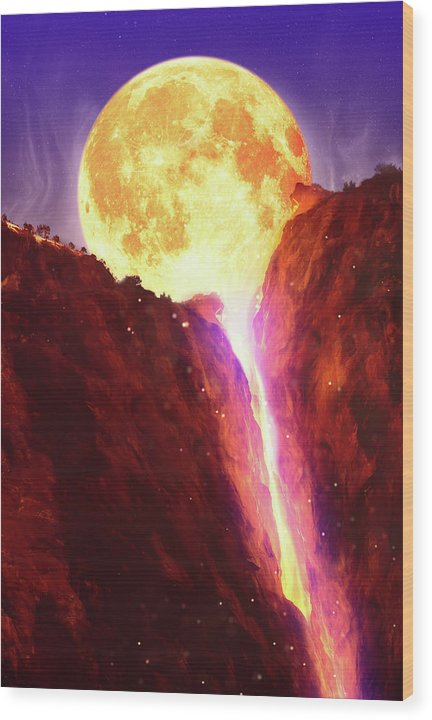 Lava Moon Melting Into Waterfall - Wood Print from Wallasso - The Wall Art Superstore