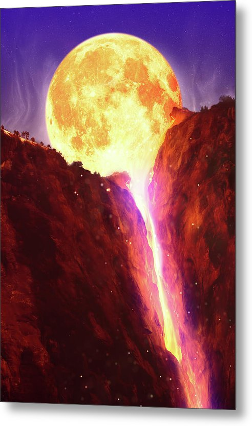 Lava Moon Melting Into Waterfall - Metal Print from Wallasso - The Wall Art Superstore